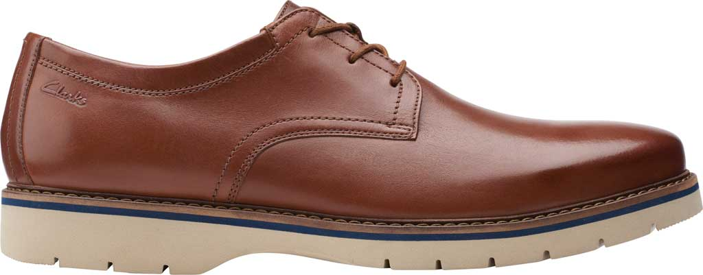 Men's Clarks Bayhill Plain Toe Oxford, Tan Full Grain Leather, large, image 2