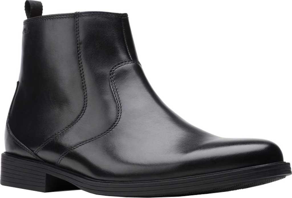 Men's Clarks Whiddon Zip Waterproof Boot, Black Full Grain Leather, large, image 1
