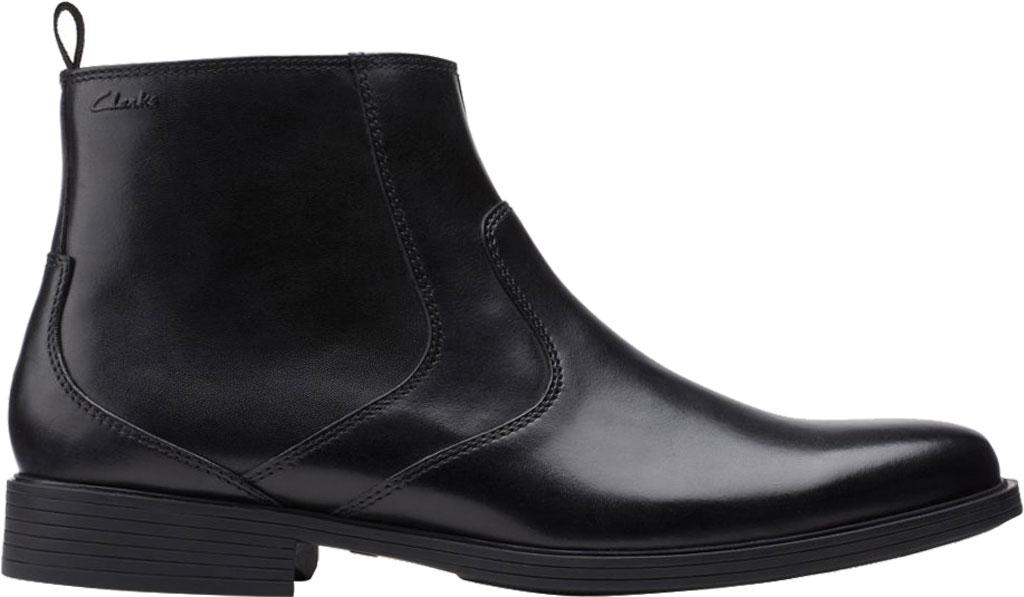 Men's Clarks Whiddon Zip Waterproof Boot, Black Full Grain Leather, large, image 2