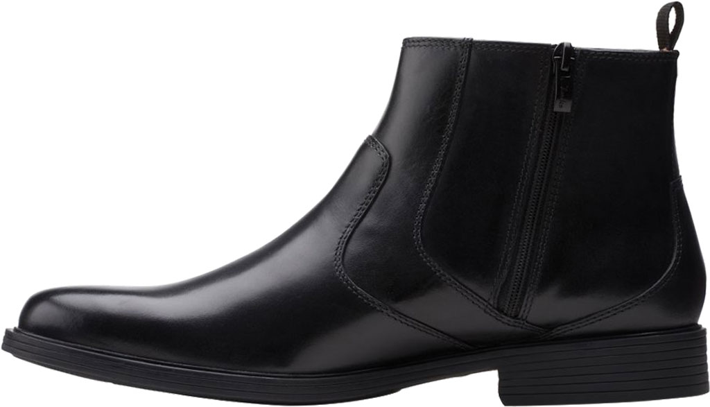 Men's Clarks Whiddon Zip Waterproof Boot, Black Full Grain Leather, large, image 3