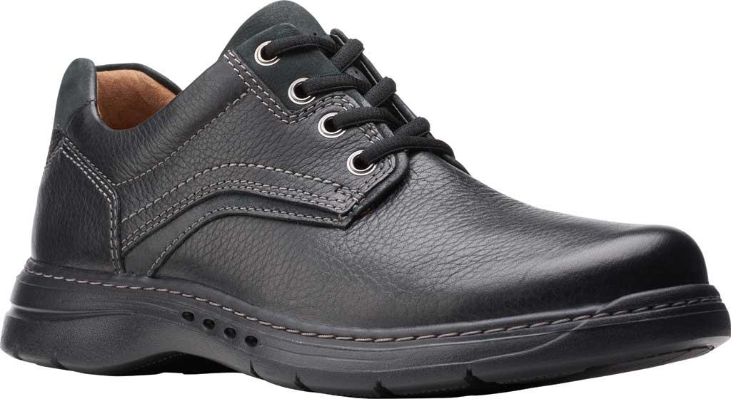 Men's Clarks Un Brawley Pace Oxford, Black Tumbled Leather, large, image 1