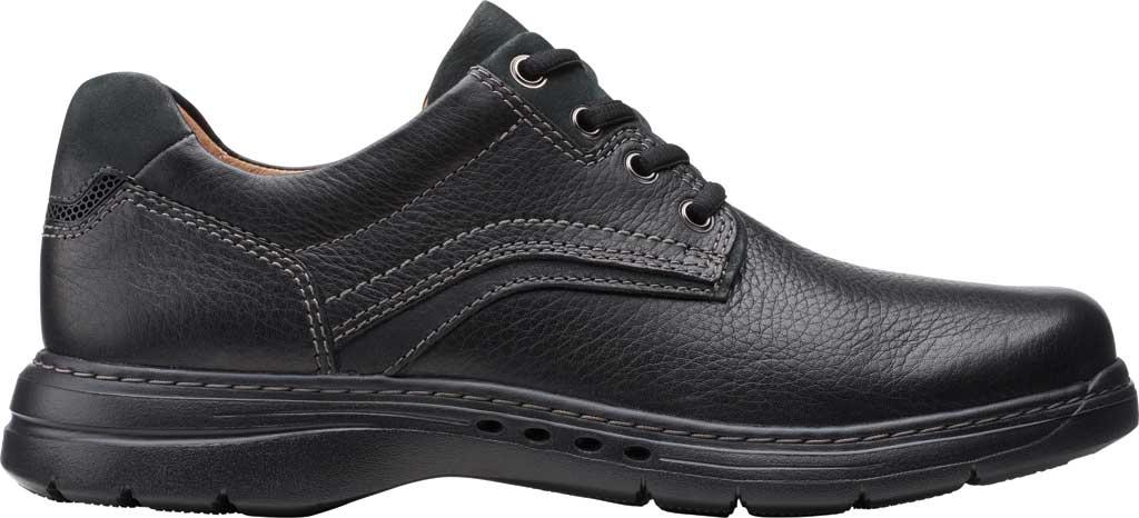 Men's Clarks Un Brawley Pace Oxford, Black Tumbled Leather, large, image 2