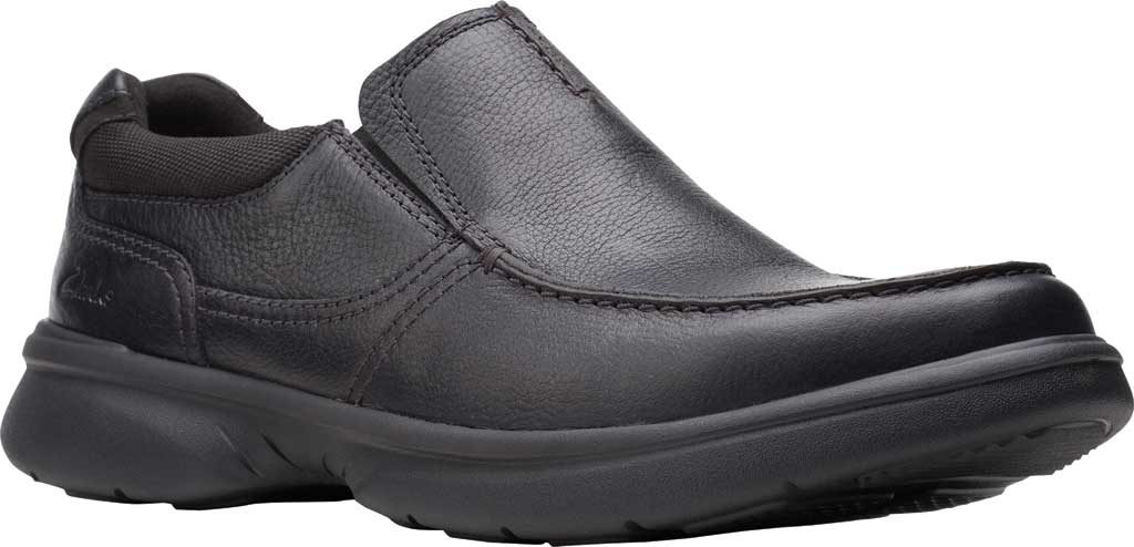 Men's Clarks Bradley Free Moc Toe Slip On, Black Tumbled Leather, large, image 1