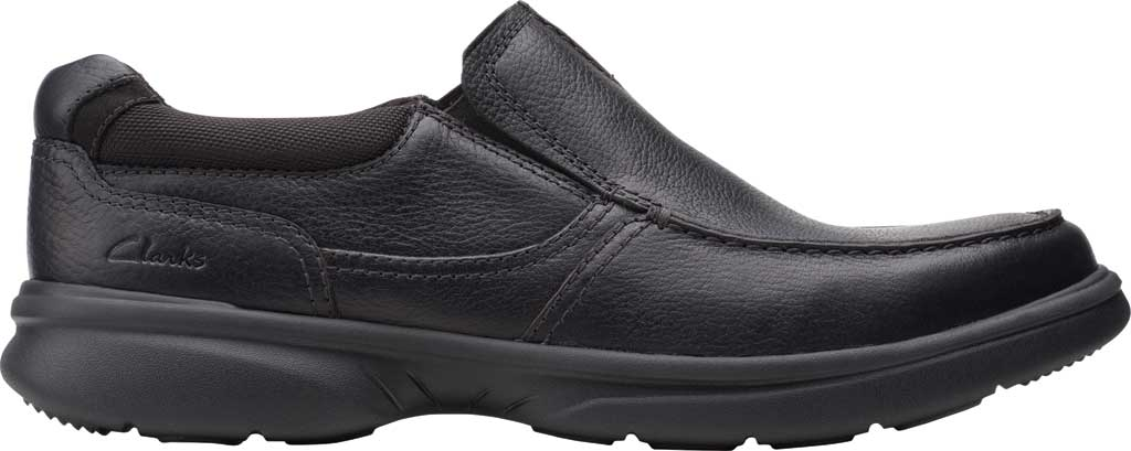 Men's Clarks Bradley Free Moc Toe Slip On, Black Tumbled Leather, large, image 2