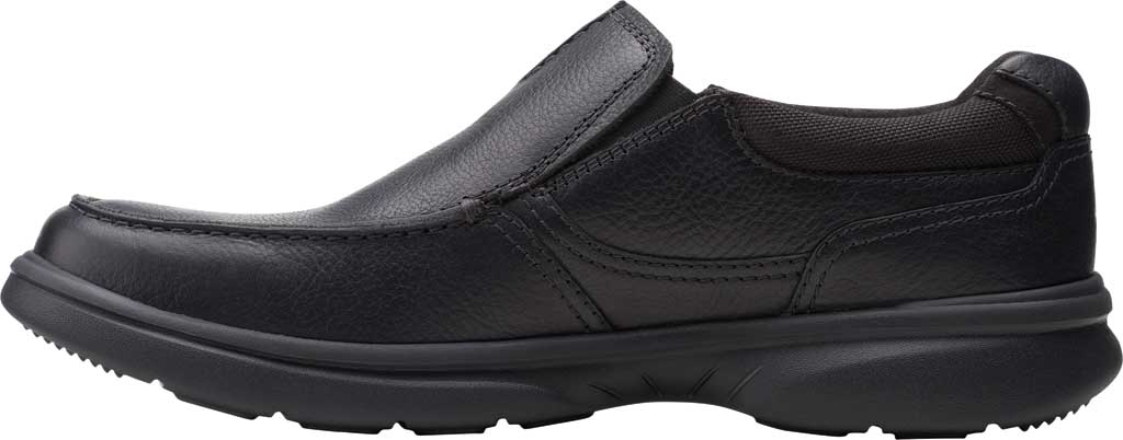 Men's Clarks Bradley Free Moc Toe Slip On, Black Tumbled Leather, large, image 3