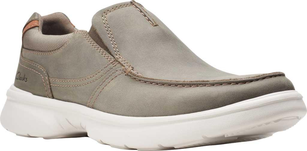 Men's Clarks Bradley Free Moc Toe Slip On, Olive Full Grain Leather, large, image 1