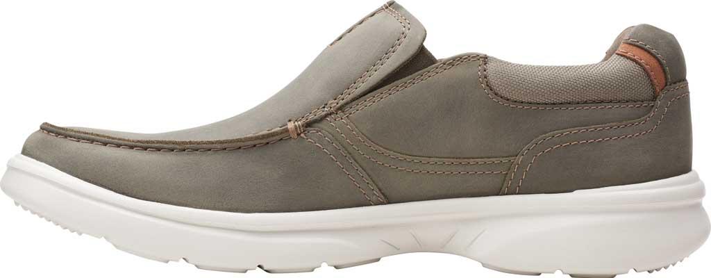 Men's Clarks Bradley Free Moc Toe Slip On, Olive Full Grain Leather, large, image 3