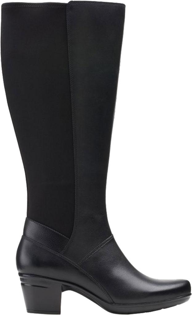 Women's Clarks Emslie Emma Wide Calf Knee High Boot, Black Leather, large, image 2