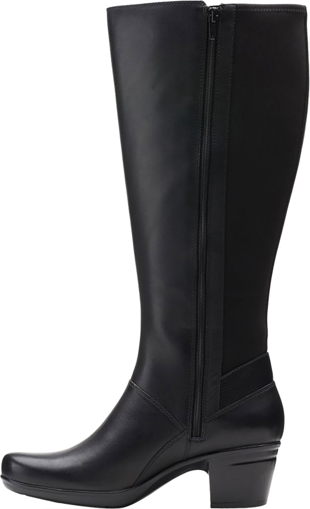 Women's Clarks Emslie Emma Wide Calf Knee High Boot, Black Leather, large, image 3