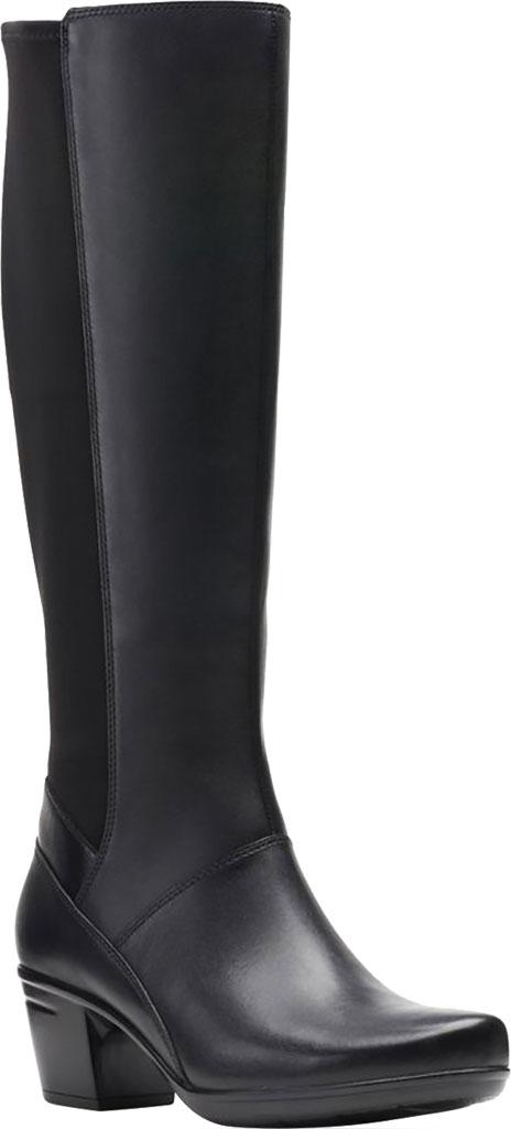 Women's Clarks Emslie Emma Knee High Boot, Black Leather, large, image 1