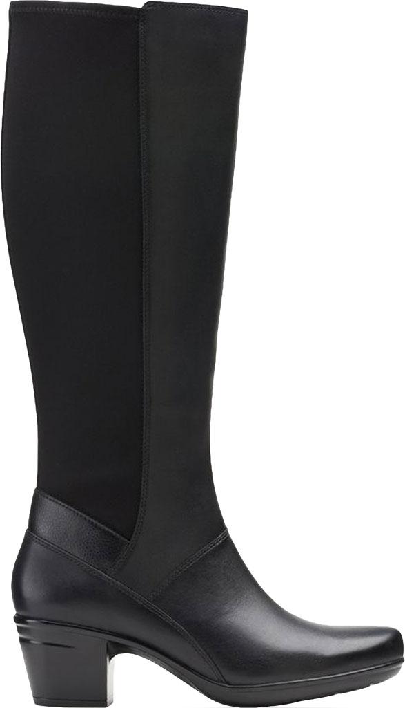 Women's Clarks Emslie Emma Knee High Boot, Black Leather, large, image 2