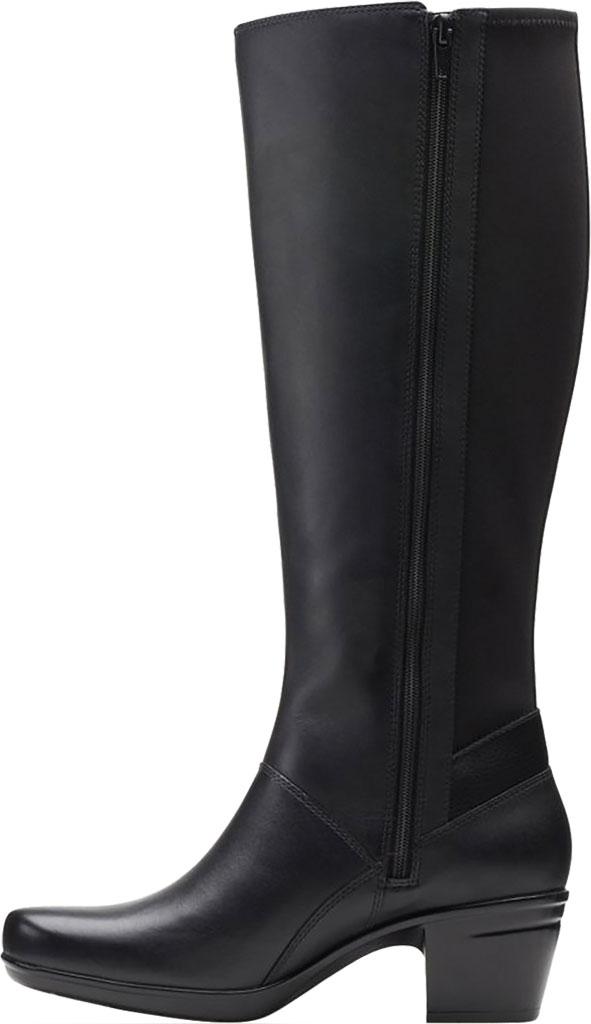 Women's Clarks Emslie Emma Knee High Boot, Black Leather, large, image 3