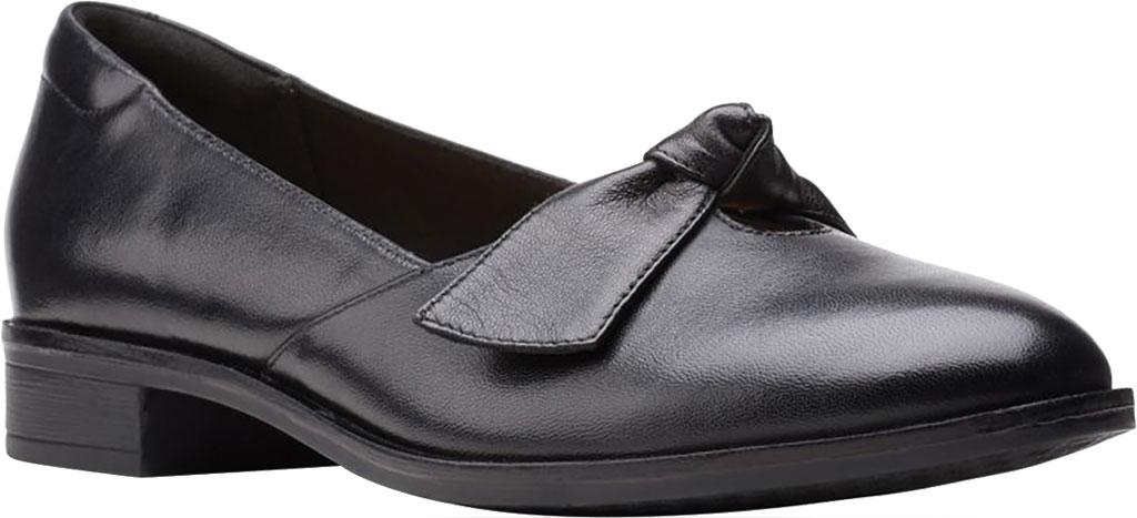 Women's Clarks Trish Wave Loafer, Black Full Grain Leather, large, image 1