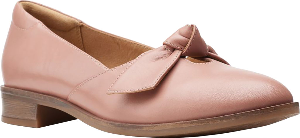Women's Clarks Trish Wave Loafer, Rose Full Grain Leather, large, image 1