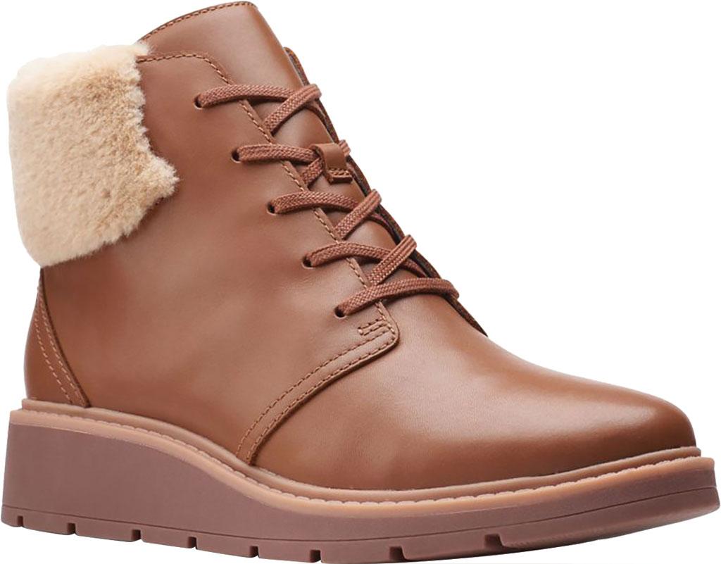 Women's Clarks Andie Go Waterproof Boot, Mahogany Waterproof Full Grain Leather, large, image 1