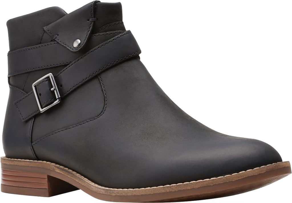 Women's Clarks Camzin Dime Ankle Bootie, Black Full Grain Leather, large, image 1