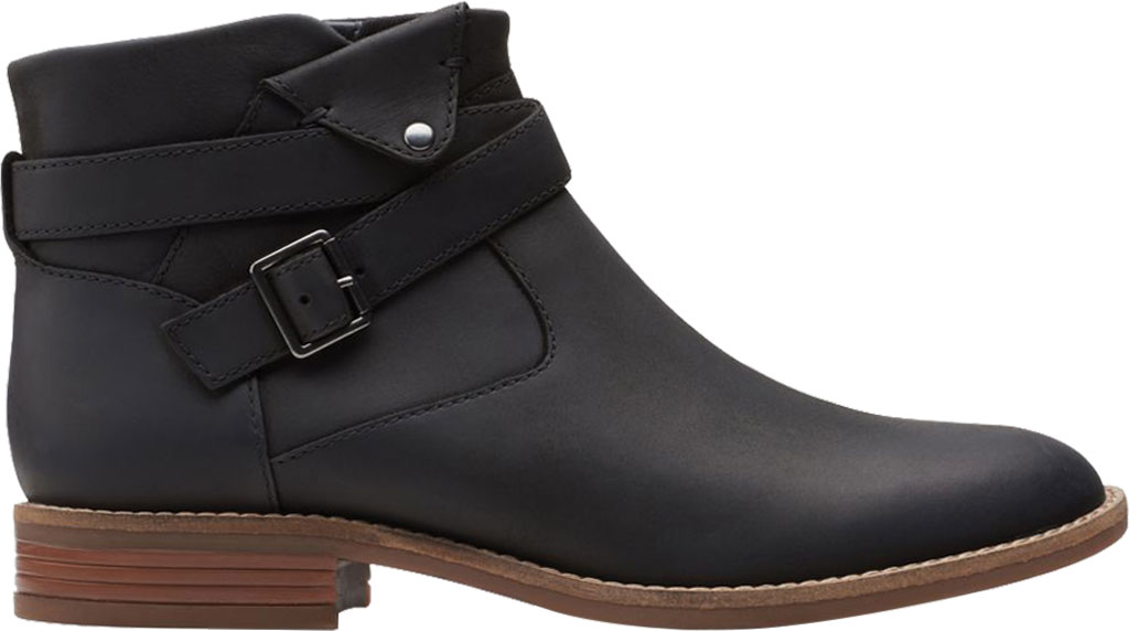 Women's Clarks Camzin Dime Ankle Bootie, Black Full Grain Leather, large, image 2