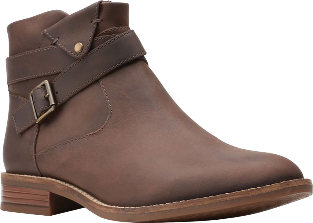 Women's Clarks Camzin Dime Ankle Bootie, Dark Brown Full Grain Leather, large, image 1