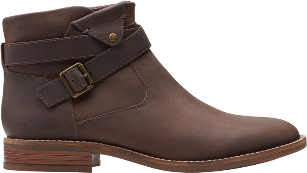 Women's Clarks Camzin Dime Ankle Bootie, Dark Brown Full Grain Leather, large, image 2