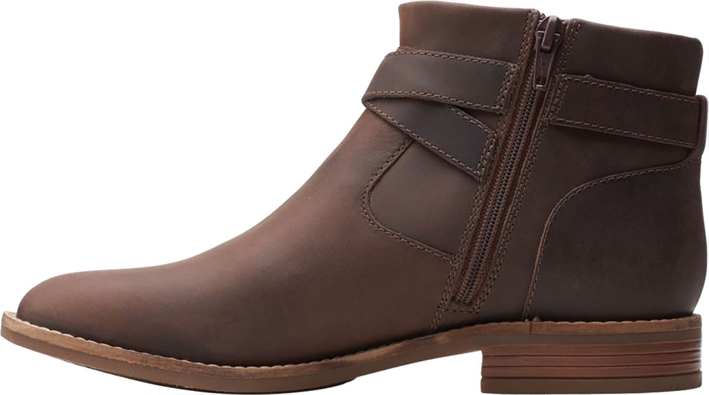 Women's Clarks Camzin Dime Ankle Bootie, Dark Brown Full Grain Leather, large, image 3