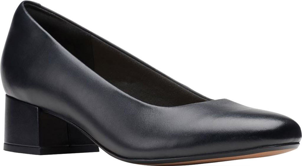 Women's Clarks Marilyn Leah Pump, Black Full Grain Leather, large, image 1
