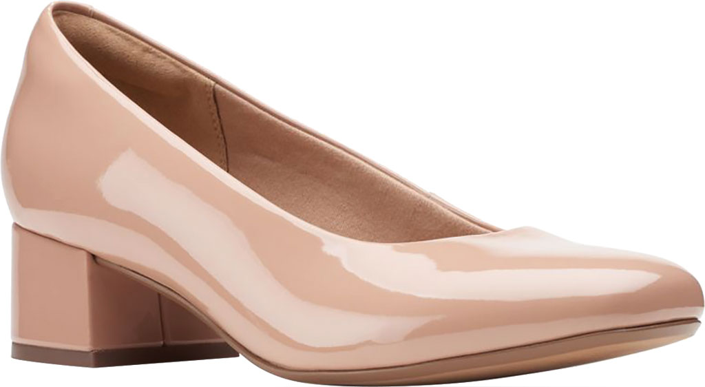 Women's Clarks Marilyn Leah Pump, Praline Synthetic Patent, large, image 1