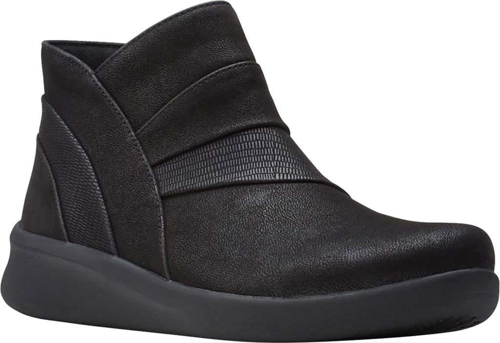 Women's Clarks Sillian 2.0 Rise Ankle Bootie, Black Synthetic, large, image 1