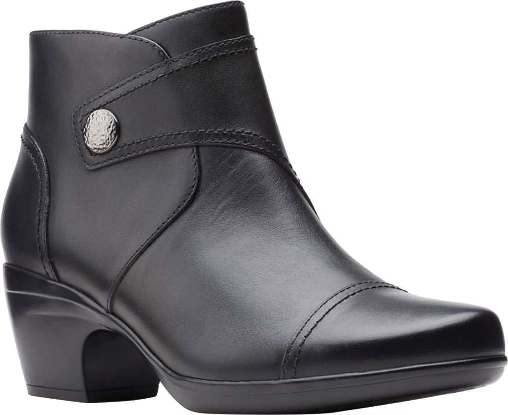 Women's Clarks Emily Calle Ankle Bootie, Black Full Grain Leather, large, image 1