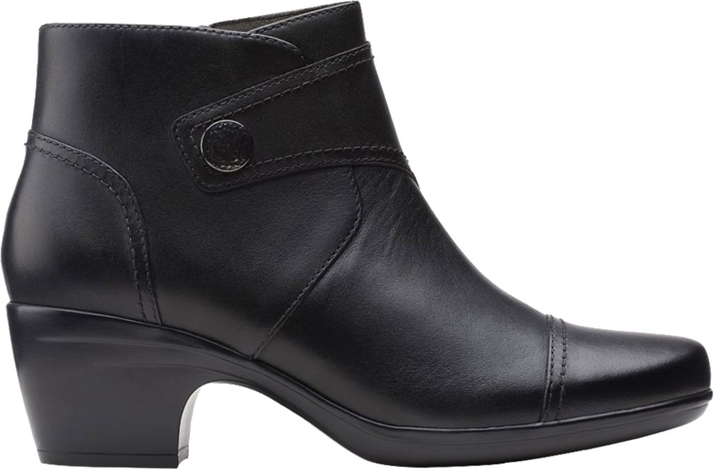 Women's Clarks Emily Calle Ankle Bootie, Black Full Grain Leather, large, image 2