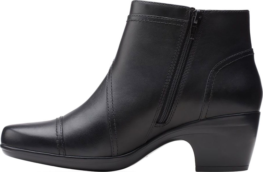 Women's Clarks Emily Calle Ankle Bootie, Black Full Grain Leather, large, image 3