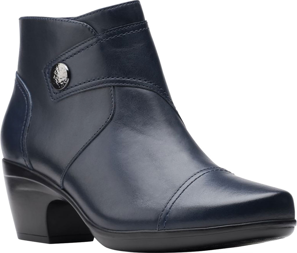 Women's Clarks Emily Calle Ankle Bootie, Navy Full Grain Leather, large, image 1
