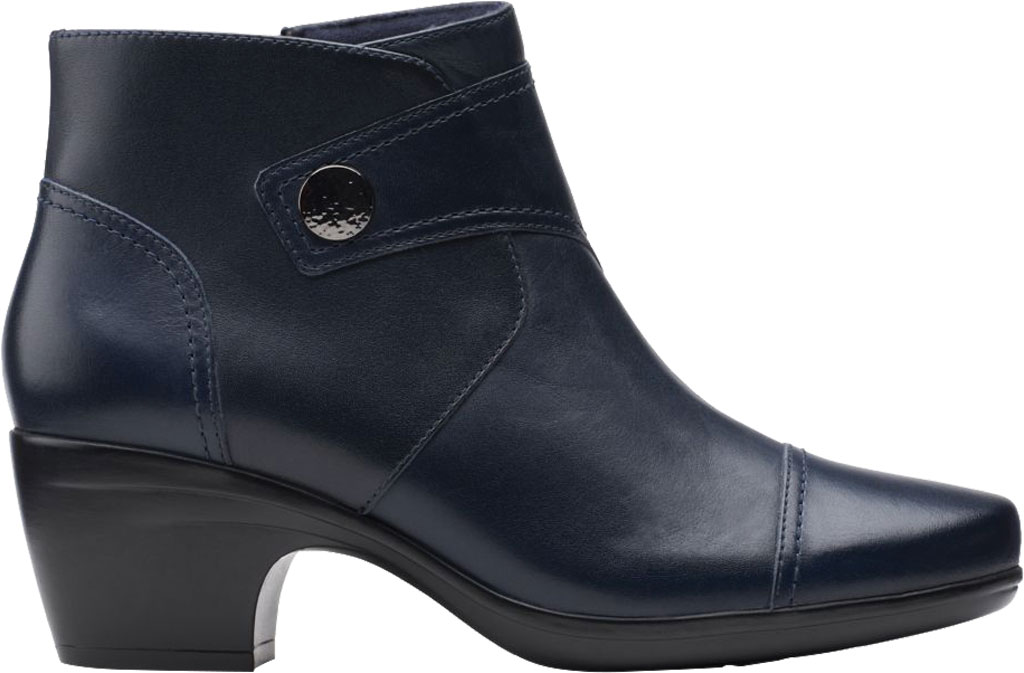 Women's Clarks Emily Calle Ankle Bootie, Navy Full Grain Leather, large, image 2