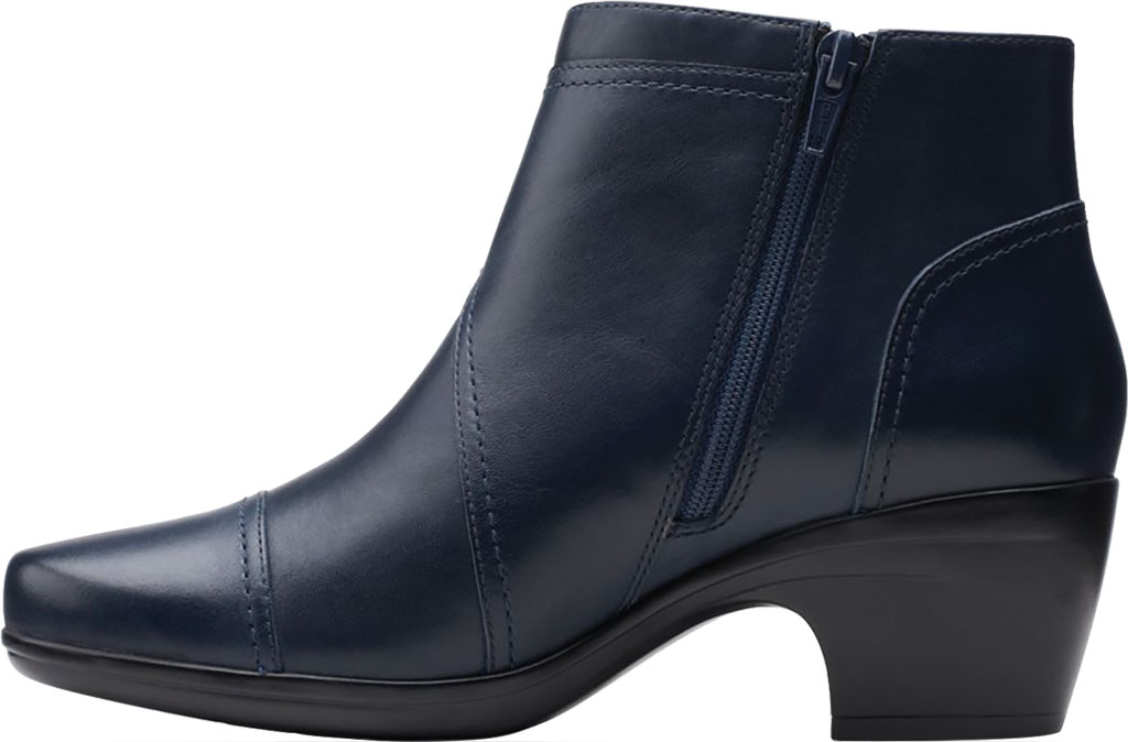 Women's Clarks Emily Calle Ankle Bootie, Navy Full Grain Leather, large, image 3