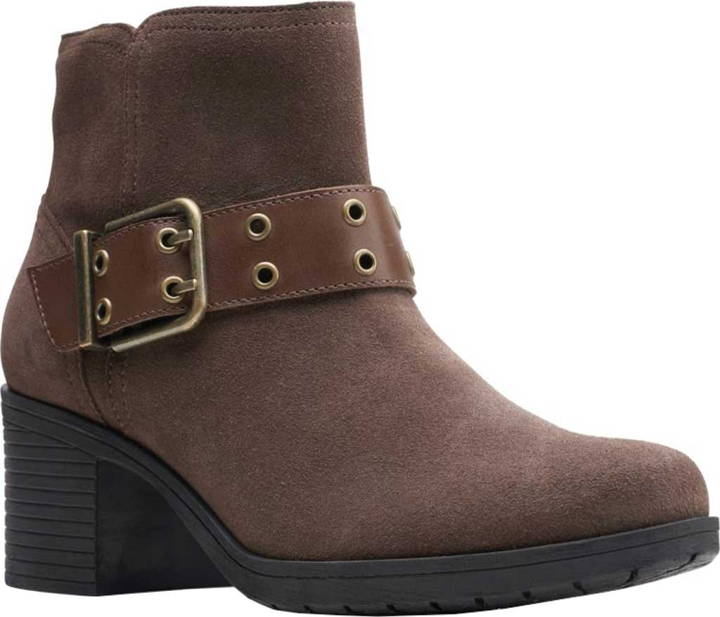 Women's Clarks Hollis Star Ankle Bootie, Dark Taupe Combination Suede, large, image 1