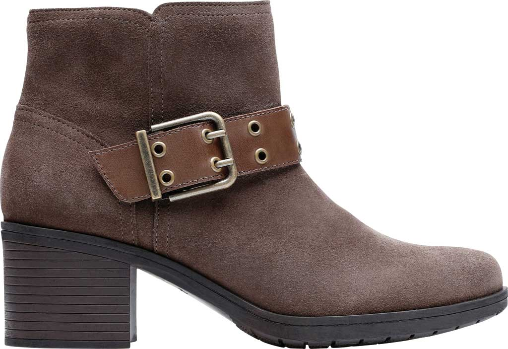 Women's Clarks Hollis Star Ankle Bootie, Dark Taupe Combination Suede, large, image 2