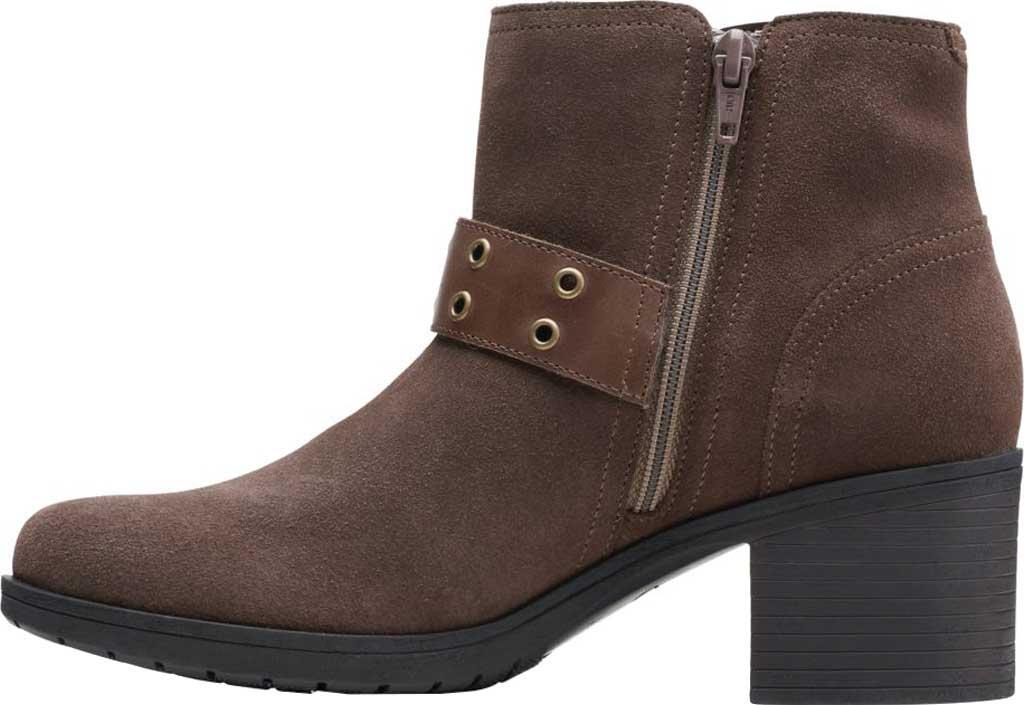 Women's Clarks Hollis Star Ankle Bootie, Dark Taupe Combination Suede, large, image 3