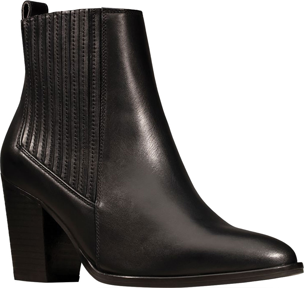 Women's Clarks West Lo Heeled Bootie, Black Leather, large, image 1