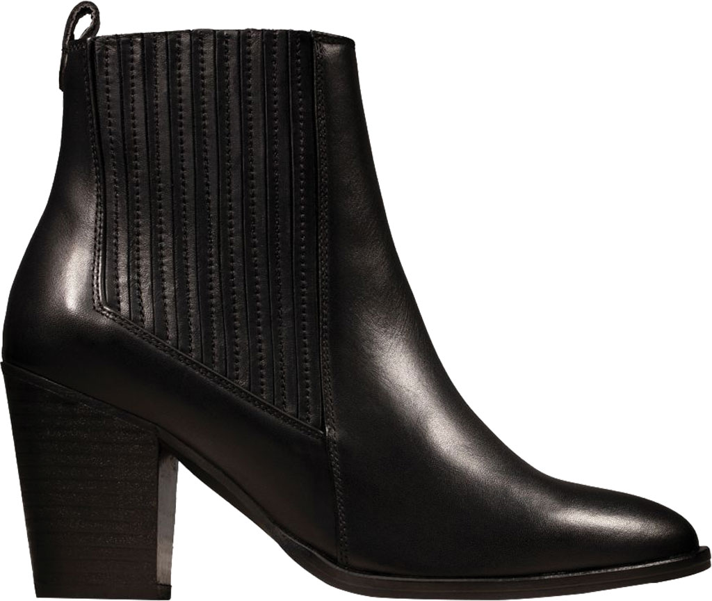 Women's Clarks West Lo Heeled Bootie, Black Leather, large, image 2