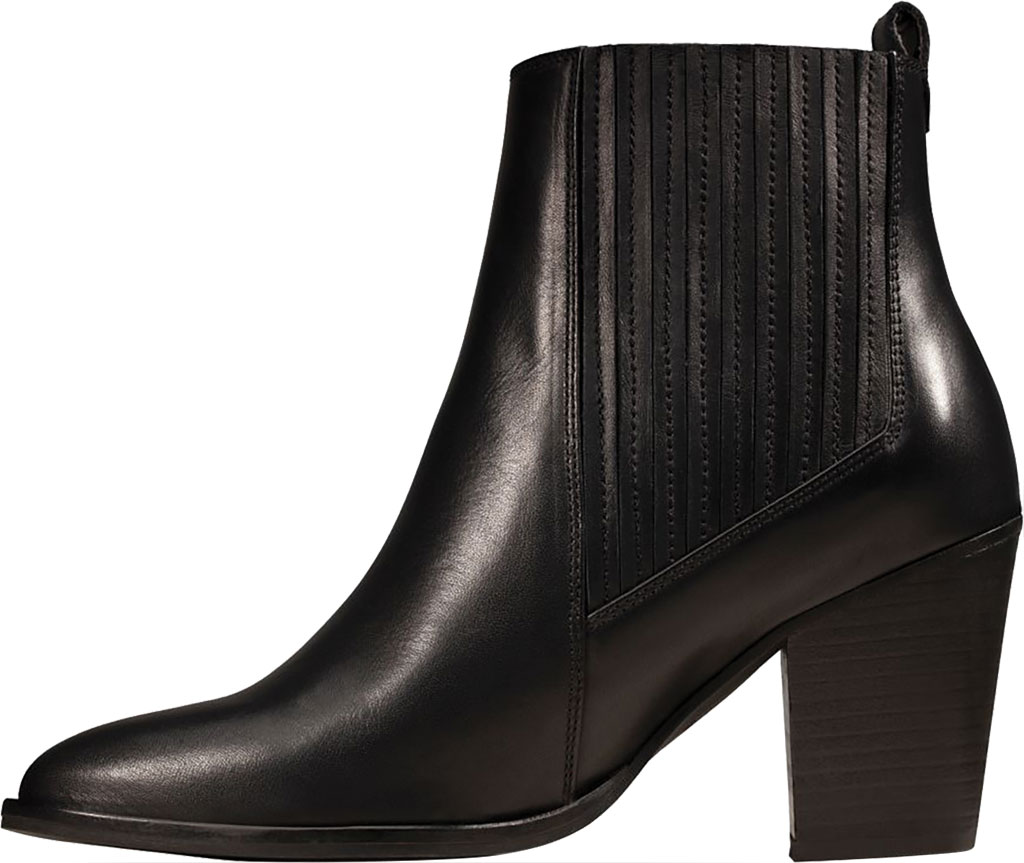 Women's Clarks West Lo Heeled Bootie, Black Leather, large, image 3
