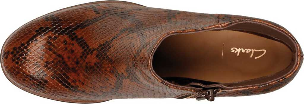 Women's Clarks Mila Myth Ankle Bootie, Tan Snake Leather, large, image 5