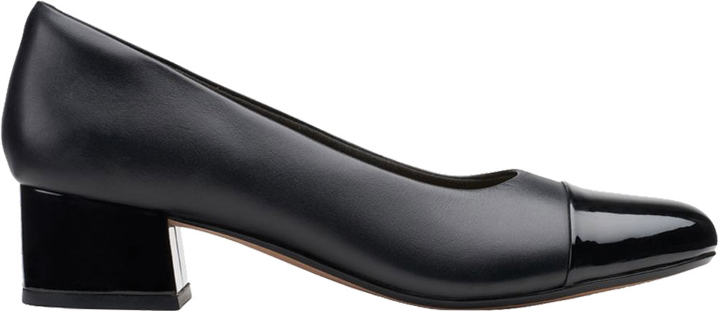 Women's Clarks Marilyn Sara Cap Toe Pump, Black Combination Full Grain Leather/Synthetic, large, image 2
