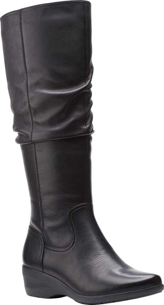 Women's Clarks Rosely Hi Slouch Boot, Black Full Grain Leather, large, image 1