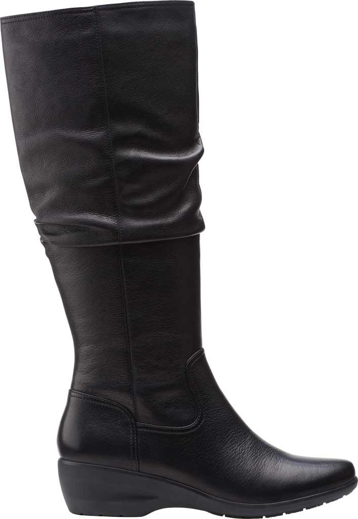Women's Clarks Rosely Hi Slouch Boot, Black Full Grain Leather, large, image 2