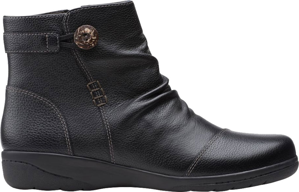 Women's Clarks Cheyn Zoe Slouch Bootie, Black Full Grain Leather, large, image 2