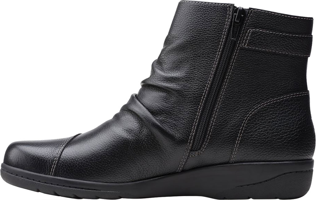 Women's Clarks Cheyn Zoe Slouch Bootie, Black Full Grain Leather, large, image 3