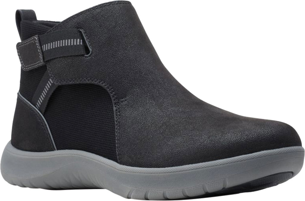 Women's Clarks Adella Cove Ankle Boot, Black Textile, large, image 1