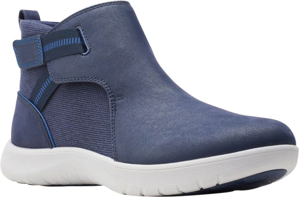 Women's Clarks Adella Cove Ankle Boot, Navy Textile, large, image 1