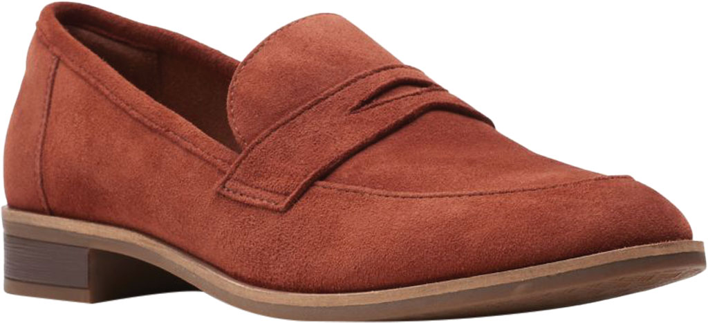 Women's Clarks Trish Rose Penny Loafer, Mahogany Suede, large, image 1