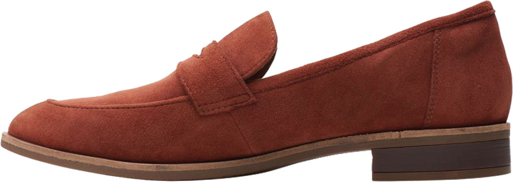 Women's Clarks Trish Rose Penny Loafer, Mahogany Suede, large, image 3