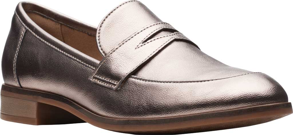 Women's Clarks Trish Rose Penny Loafer, Metallic Synthetic, large, image 1